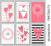 a set of cards for valentine's... | Shutterstock .eps vector #789730171