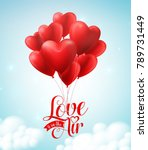 valentines red heart balloons... | Shutterstock .eps vector #789731449