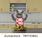 Hungry Cat With Knife And Fork...