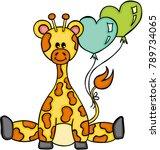 cute giraffe sitting with heart ... | Shutterstock .eps vector #789734065
