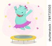 happy cartoon hippo girl... | Shutterstock .eps vector #789735505