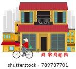 hanoi old town in vietnam vector | Shutterstock .eps vector #789737701