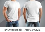 mockup  white t shirts on the... | Shutterstock . vector #789739321