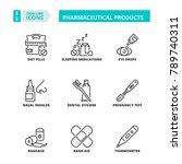 line icons about pharmaceutical ... | Shutterstock .eps vector #789740311