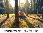 beautiful view tent on pine... | Shutterstock . vector #789743209