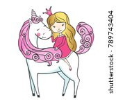 cute hand drawn unicorn with... | Shutterstock .eps vector #789743404