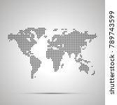 simple world map pixelated... | Shutterstock . vector #789743599