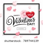 valentine's day sale poster... | Shutterstock .eps vector #789744139