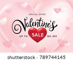 valentines day sale poster with ... | Shutterstock .eps vector #789744145