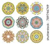 flower vector mandalas set.... | Shutterstock .eps vector #789746749