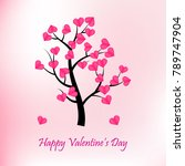 happy valentines day tree with... | Shutterstock .eps vector #789747904