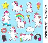 vector cartoon unicorns  magic... | Shutterstock .eps vector #789751975