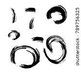 set of black brush strokes....   Shutterstock .eps vector #789756325