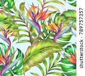 tropical floral seamless... | Shutterstock . vector #789757357