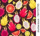 seamless exotic fruits | Shutterstock .eps vector #789757795