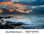 Ocean With A Golden Sunset...