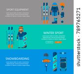 winter sport icons collection.... | Shutterstock .eps vector #789765271