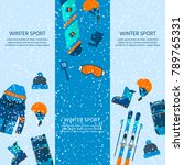 winter sport icons collection.... | Shutterstock .eps vector #789765331