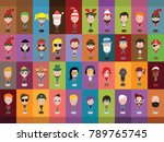 people icons in flat cartoon... | Shutterstock .eps vector #789765745