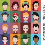people icons in flat cartoon... | Shutterstock .eps vector #789765787