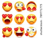valentines day smiley. emoji... | Shutterstock .eps vector #789771775
