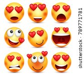 valentines day smiley. emoji... | Shutterstock .eps vector #789771781