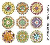 flower vector mandalas set....   Shutterstock .eps vector #789772549