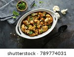 roasted cauliflower with pine... | Shutterstock . vector #789774031