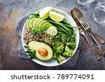 green vegan lunch bowl with... | Shutterstock . vector #789774091