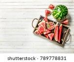 watermelon juice in glass jar... | Shutterstock . vector #789778831