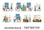 office christmas party. people... | Shutterstock . vector #789789739