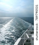 Small photo of Seafaring: View from the aft deck of a RoRo vessel over the Kattegat Sea