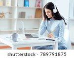 music inspires. pensive glad... | Shutterstock . vector #789791875