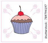 vector cupcake illustration.... | Shutterstock .eps vector #789794197
