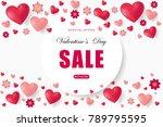 valentines day sale background... | Shutterstock .eps vector #789795595
