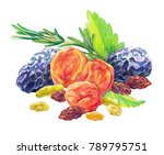 assorted dry fruit set with...   Shutterstock . vector #789795751
