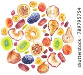 dry fruit round shape pattern... | Shutterstock . vector #789795754