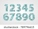 1 2 3 4 5 6 7 8 9 0 polygonal... | Shutterstock .eps vector #789796615