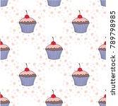 vector cupcake illustration.... | Shutterstock .eps vector #789798985