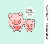 cute pink pig cartoon character ... | Shutterstock .eps vector #789809947