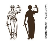 goddess of justice. themis with ... | Shutterstock .eps vector #789810694