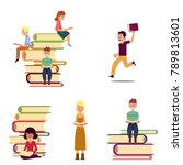 people reading while sitting on ... | Shutterstock .eps vector #789813601