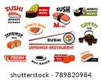 sushi icons for japanese... | Shutterstock .eps vector #789820984