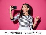 portrait of a pretty girl... | Shutterstock . vector #789821539