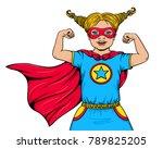 cute happy little girl dressed... | Shutterstock .eps vector #789825205