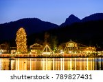 christmas market at the tegernsee lake in germany - stock photo