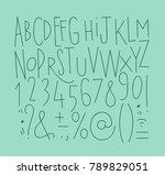 alphabet set straight lines... | Shutterstock .eps vector #789829051