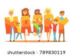 group of smiling people holding ... | Shutterstock .eps vector #789830119