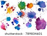 multicolored watercolor splash... | Shutterstock . vector #789834601