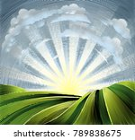 rolling hills or farmland... | Shutterstock . vector #789838675